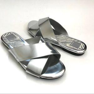 Dolce Vita Metallic Silver Slides Sandals 6.5